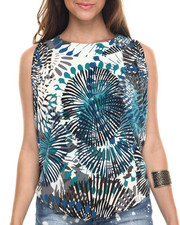 Tops - Palm Burst Print Cross Back Knit Top