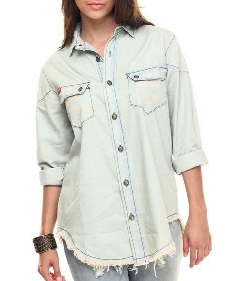 Ur-ID 218331 Lee Cooper - Women Green,Light Blue Long Sleeve Chabray Denim Button Up