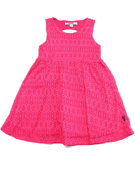 Dkny Jeans - Girls Pink Abigail Lace Dress (4-6X)