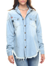 Polos & Button-Downs - Long Sleeve Chabray Denim Button Up