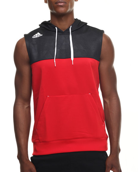 Ur-ID 218402 Adidas - Men Red Streetball Sleeveless Hoodie