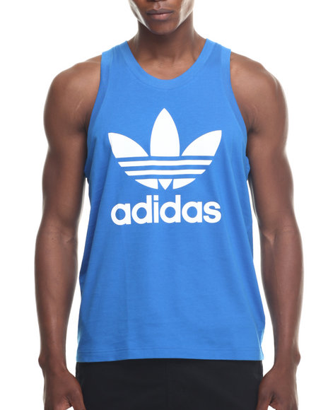 Adidas - Men Blue Adidas Trefoil Tank - $14.99