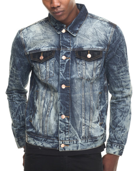 Ur-ID 218458 Kilogram - Men Medium Wash Crackle Denim Jacket