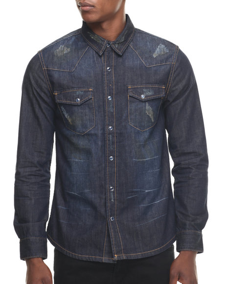 Ur-ID 218463 Kilogram - Men Dark Wash Streaked Denim L/S Button - Down