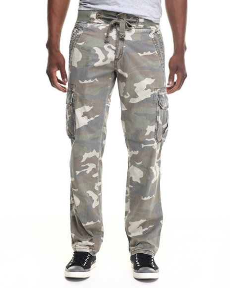 Kilogram - Men Camo Drawstring Camo Cargo Pants