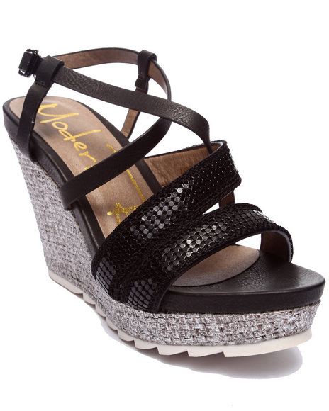 Ur-ID 218536 Fashion Lab - Women Black Karen Wedge Sandal W/Metallic Detail