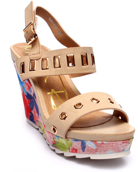 Fashion Lab - Women Beige Tania Floral Wedge