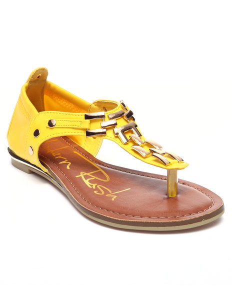 Fashion Lab - Women Yellow Veronica Sandal W/Metal Detail On Thong - $29.99