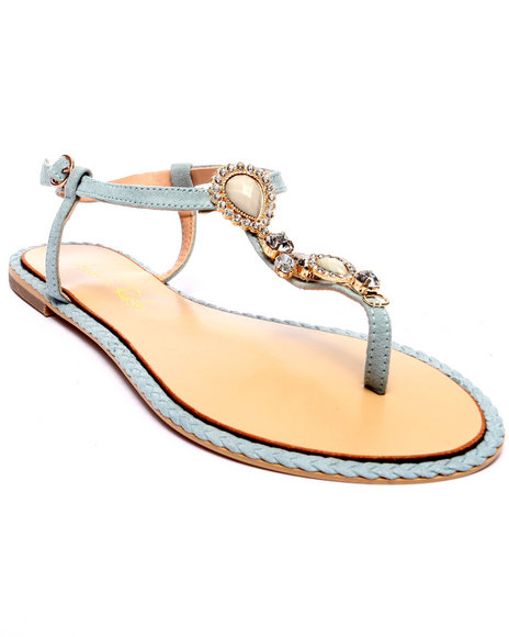 Ur-ID 218550 Fashion Lab - Women Blue Florance Thong Sandal W/Stones