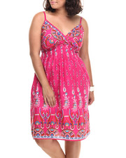 Women - Paisley Print Cotton Babydoll Dress (Plus)
