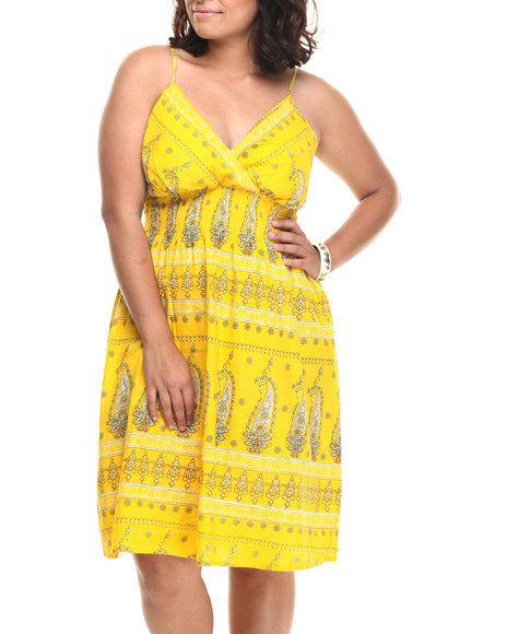 Ur-ID 218506 She's Cool - Women Yellow Paisley Print Cotton Babydoll Dress (Plus)