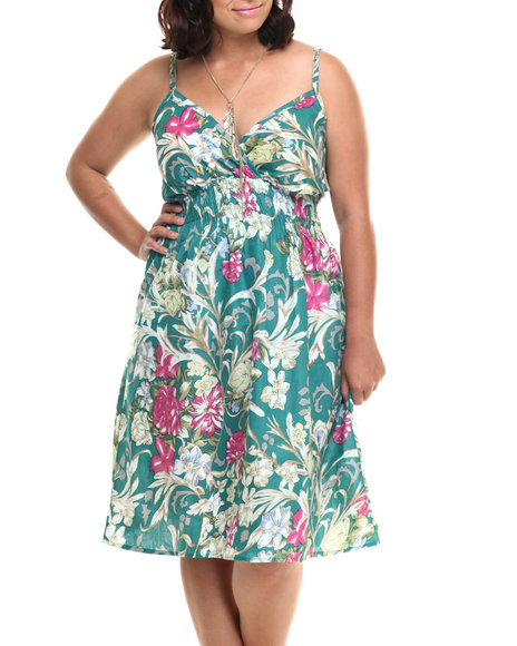 She's Cool - Women Multi Botanical Print Cotton Babydoll Dress (Plus)