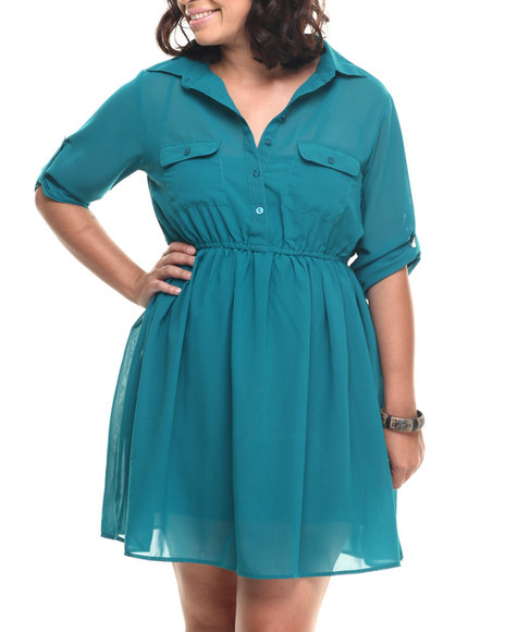 She's Cool - Women Teal Roll-Up Sleeve Chiffon Shirt Dress (Plus)