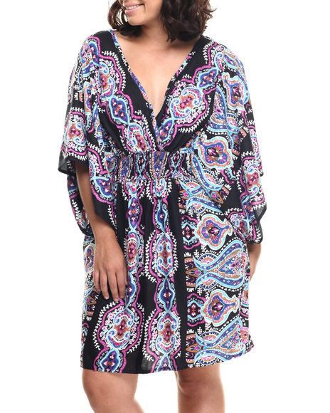 Ur-ID 218512 She's Cool - Women Purple Mosaic Print Challi Kimono Dress (Plus)