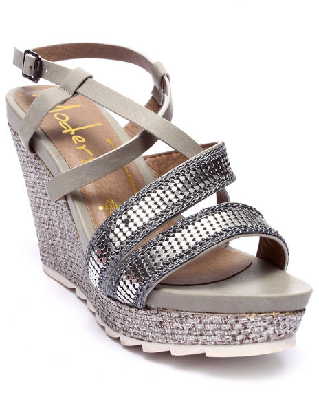 Ur-ID 218535 Fashion Lab - Women Grey Karen Wedge Sandal W/Metallic Detail
