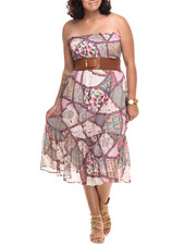 Women - Boho Print Belted Chiffon Smoked Tube Dress (Plus)