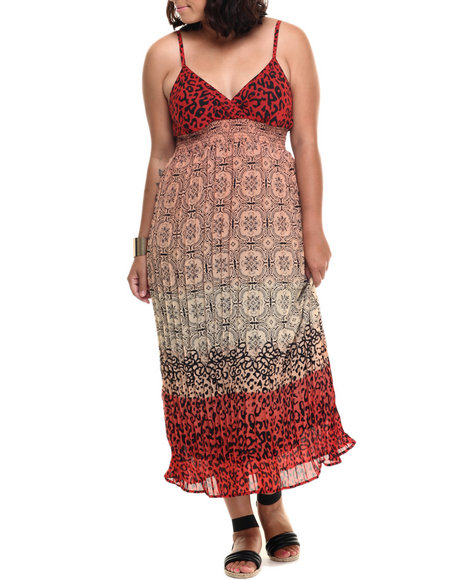 She's Cool - Women Red,Tan Animal Scroll Print Surplice Maxi (Plus)