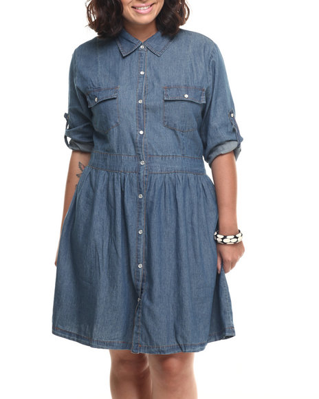 She's Cool - Women Medium Wash Denim Cotton Roll-Up Sleeve Shirt Dress (Plus)