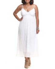 Women - Chiffon Pleated Surplice Maxi (Plus)