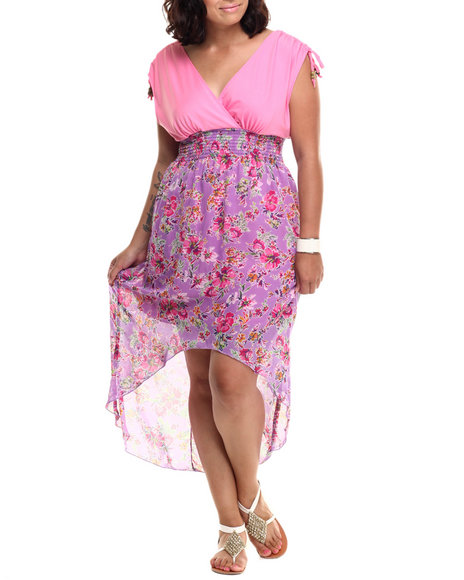 She's Cool - Women Pink Floral Hi-Low Hem Surplice Dress (Plus)