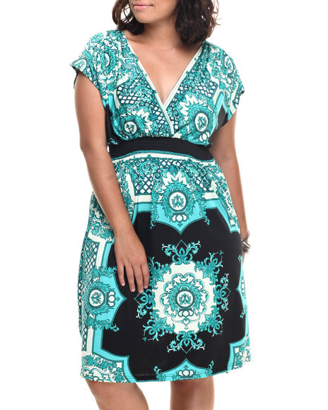 She's Cool - Women Teal Scroll Print Surplice Dress (Plus)