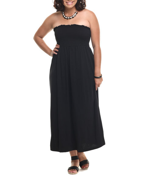 She's Cool - Women Black Solid Smocked Knit Tube Maxi (Plus)