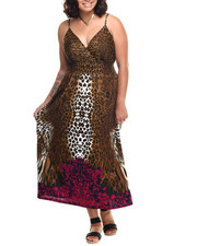Dresses - Animal Border Print Surplice Maxi (Plus)