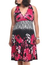 Dresses - Zebra Floral Print Dress (Plus)