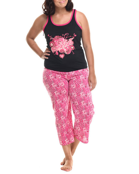Ur-ID 218594 DRJ Lingerie Shoppe - Women Black,Pink Bombshell Capri Pj Set (Plus)
