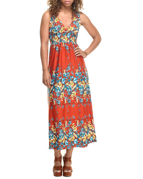 She's Cool - Women Dark Orange Botanical Print Halter Maxi