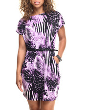 Dresses - Animal Print Belted Pocketed Dress