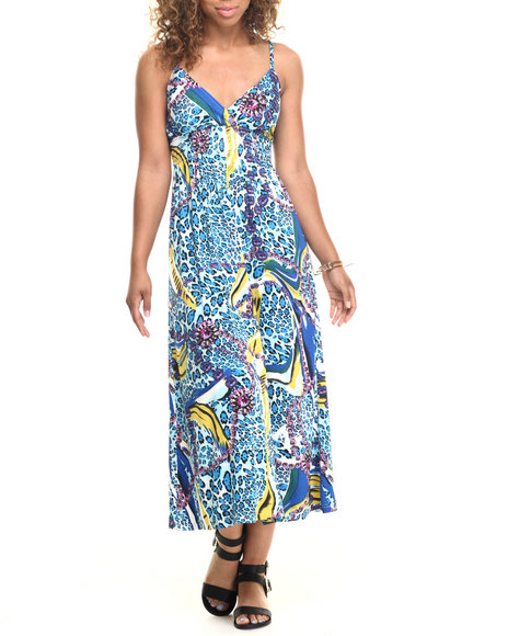 She's Cool - Women Animal Print,Blue Mixed Animal Print Surplice Maxi