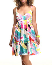 Dresses - Water Color Print Babydoll Dress