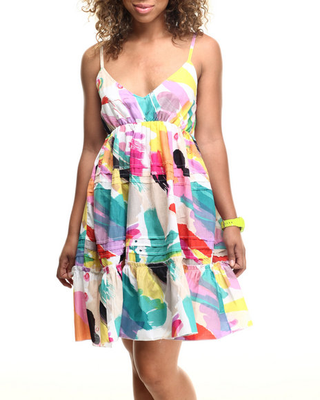 Ur-ID 218530 She's Cool - Women Multi Water Color Print Babydoll Dress