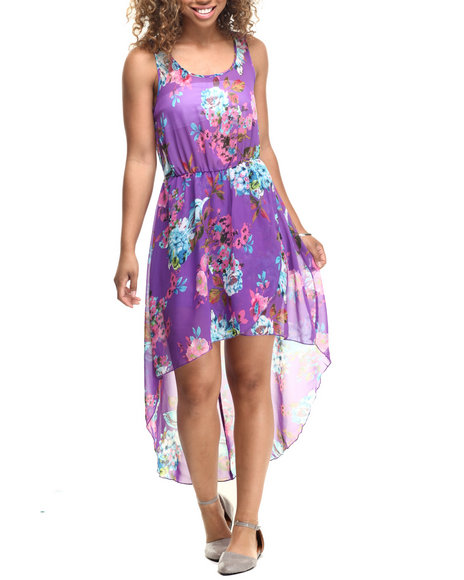 Ur-ID 218565 Fashion Lab - Women Purple Candie Chiffon High Low Dress