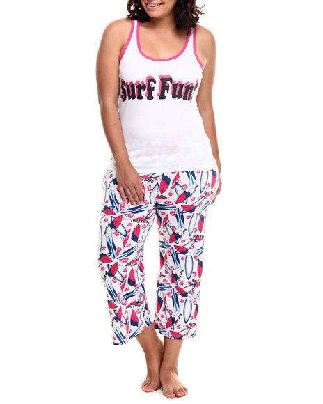 Ur-ID 218575 DRJ Lingerie Shoppe - Women Pink,White Surf Fun Capri Pj Set