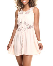 Dresses - Mini Dress w/ Floral Detail