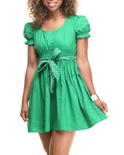 Dresses - Smocked Waist S/S Cotton Dress