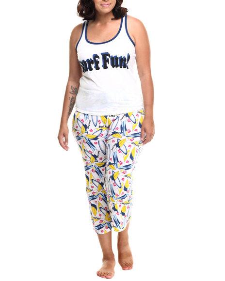 Ur-ID 218581 DRJ Lingerie Shoppe - Women Blue,White Surf Fun Capri Pj Set