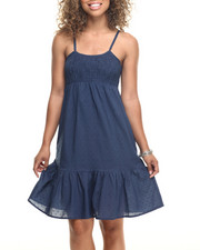 Dresses - Swiss Dot Empire Waist Cotton Dress
