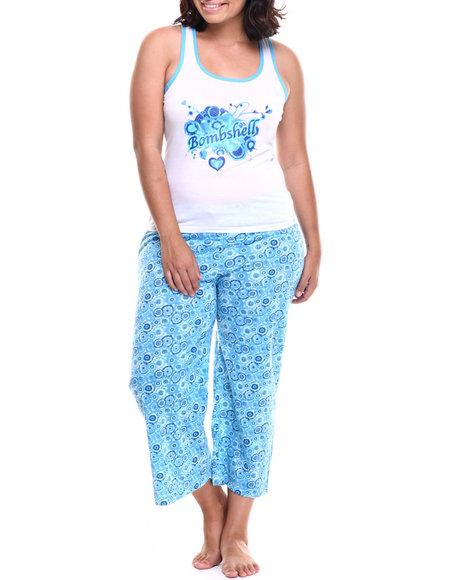 Ur-ID 218584 DRJ Lingerie Shoppe - Women Blue,White Bombshell Capri Pj Set (Plus)