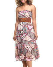 Dresses - Boho Print Belted Chiffon Smoked Tube Dress