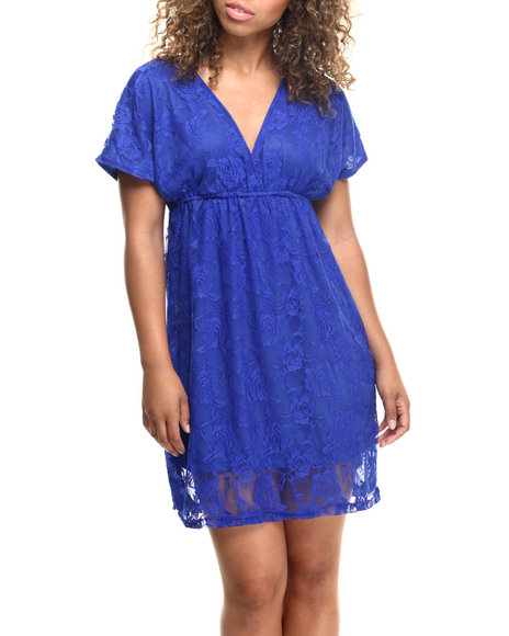 Ur-ID 218593 She's Cool - Women Blue Floral Lace Empire Waist Dress