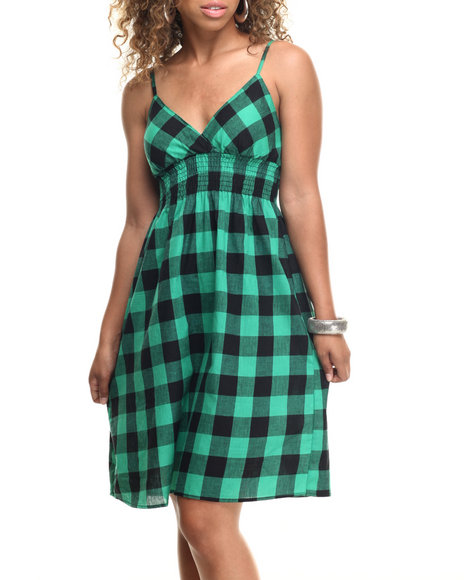 She's Cool - Women Green Buffalo Plaid Cotton Babydoll Dress
