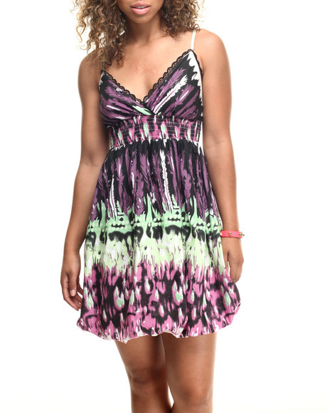 Ur-ID 218598 She's Cool - Women Purple Tie Dye Print Cotton Dress