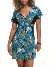 Dresses - Zebra Print Tie Back Pocketed Dress