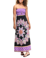 Dresses - Mosaic Border Print Smocked Tube Maxi
