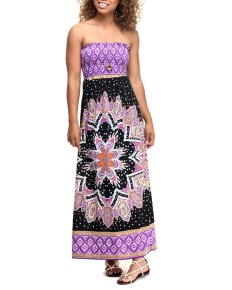She's Cool - Women Purple Mosaic Border Print Smocked Tube Maxi