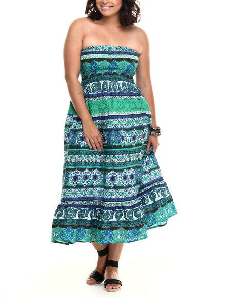 She's Cool - Women Green Crochet Insert Border Print Smocked Cotton Tube Maxi (Plus)