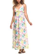 Dresses - Neon Floral Print Chiffon Surplice Maxi